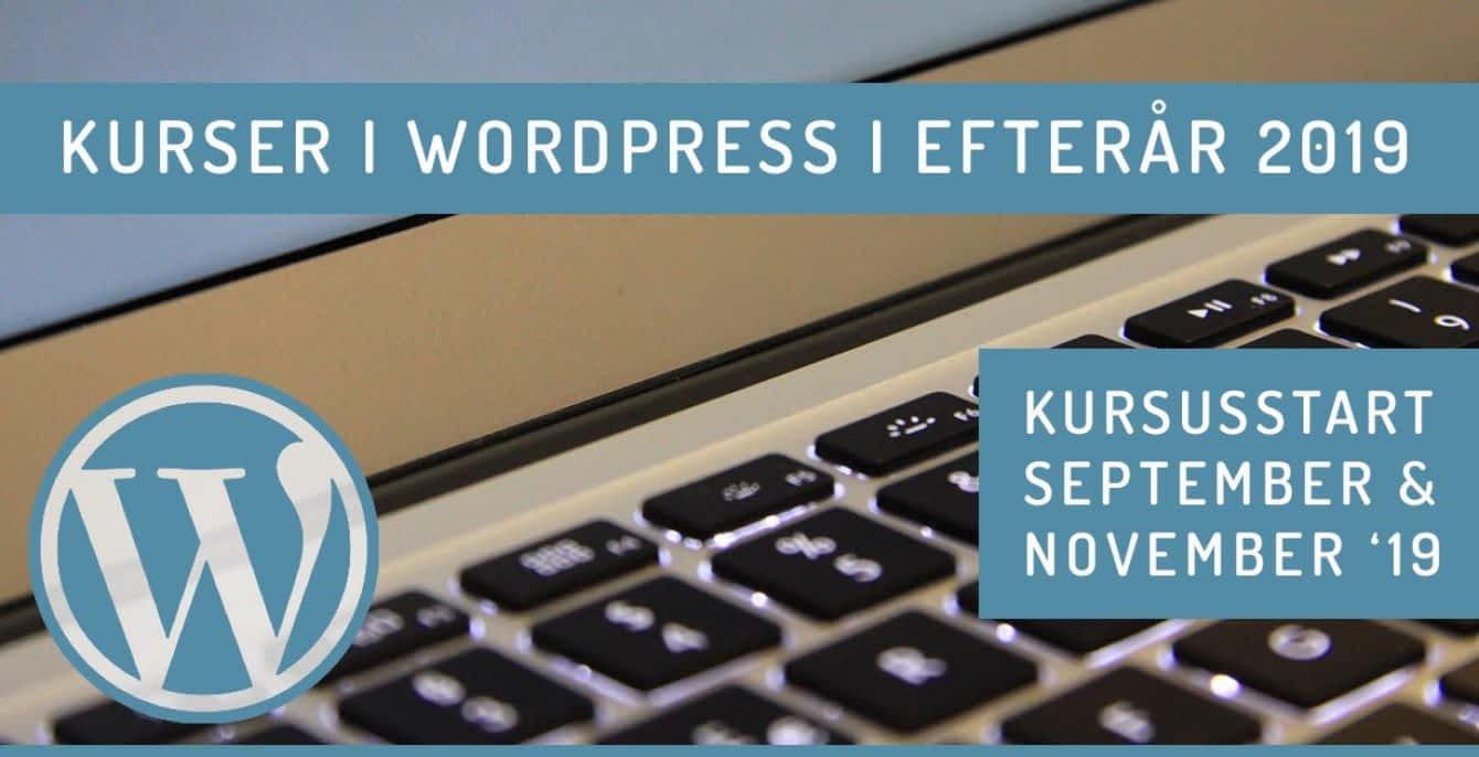 WordPress kursus efterår 2019 - september og november